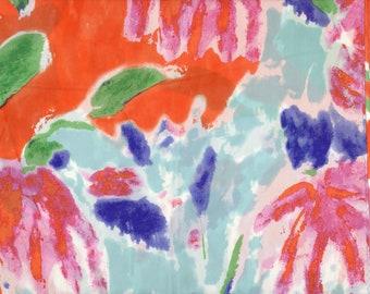 Tropical Paradise Lauren Silk Scarf design blue pink