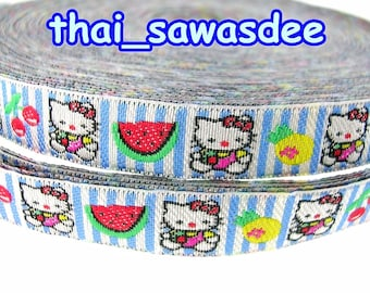 Kitty Fruit Stripe Woven Ribbon Embroidery Sew On Trim 4 Yards