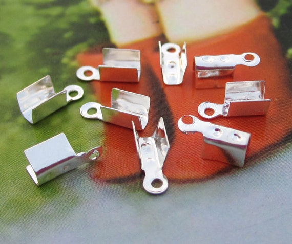 Silver Fold Over end connectors Clasps Claws,100 pcs 5x3mm Cord Tip Bead Cap Fastener