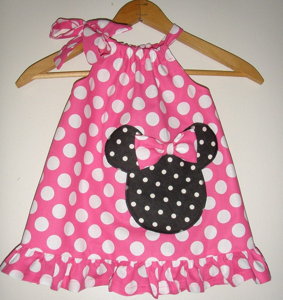 10-% off coupon code is minnie at etsy checkout Minnie Mouse Pink  polka dot Ruffled Swing dress  with  applique (available in sizes 1 to 4)
