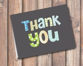Funky Letters Boy Folded Thank You Note - Fits A2 size envelope - INSTANT DOWNLOAD