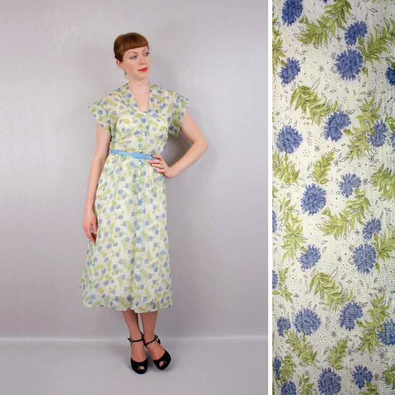 vintage 1940s dress / sheer nylon novelty print dress / pretty is as pretty does