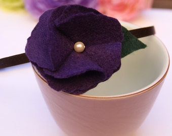 Purple Felt Flower Headband, Royal Velvet and Pearl