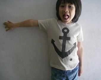 Boy and Girl Anchor Applique Organic Cotton T-Shirt(natural)
