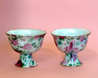 Pink and rose floral chintz set of footed bowls for dessert or candles