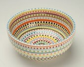 Stripes and Dots Bowl Cereal Soup Salad Colorful Dinnerware