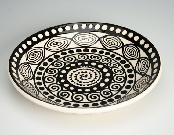 "Pasta Bowl Mandala - 9"" Hand Painted Serving and Personal Bowl Dinnerware"