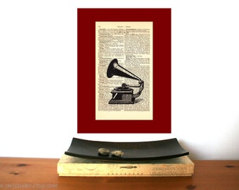 Grammophone Vintage Art Print on Antique 1896 Dictionary Book Page