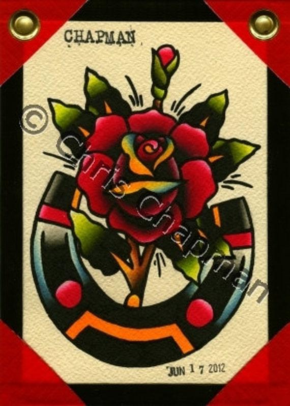 Rose n Horseshoe Tattoo Flash