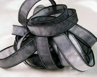 Hand Dyed Silk Ribbons - Hand Painted Jewelry Ribbon Bracelet  - Black Grey - Quintessence - Steel