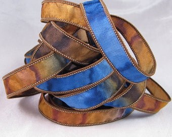 Hand Dyed Silk Ribbon - Silk Jewelry Ribbon Bracelet Wrist Wrap - Quintessence - Navy brown - NIghtwood