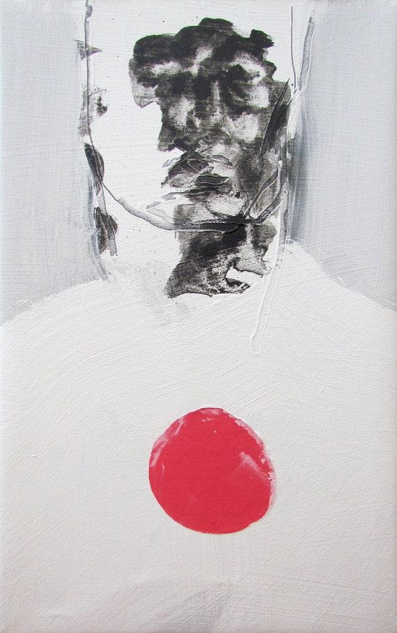 """Contemporary Art Figure Painting, original fine art abstract figurative art - 13 x 21"""" - medium canvas by Derek Overfield"""