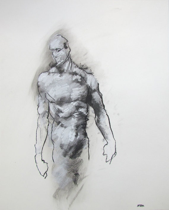 "Male Figure Drawing  - 14 x17"",  fine art - Drawing 95 - pastel on paper - original drawing"