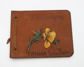 Autograph Book 1930s Vintage 30s Long Beach California Brown Leather Endearing Notes