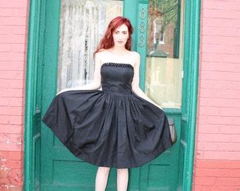 Dress 1950s Vintage 50s Full Skirt Strapless Sequined Black LBD Prom S Small