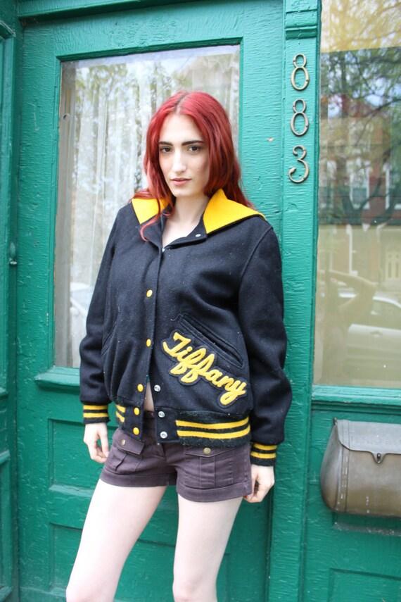 Sale Varsity Jacket 1980s Vintage 80s Cheerleading TIFFANY Wool Black Yellow S M
