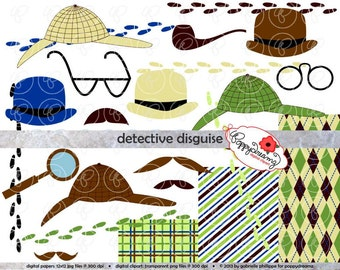 Detective Disguise Paper and Elements SET: Digital Scrapbook Paper Pack (300 dpi) Digital Dress Up Blue Green Brown