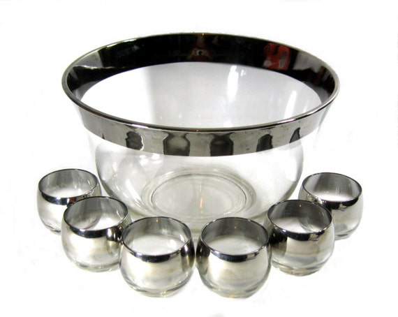 Vintage Silver Rimmed Ombre Punch Bowl and Glasses 1960s Dorothy Thorpe Style