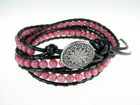Leather wrap pink bubble gum rhodonite triple wrap bracelet