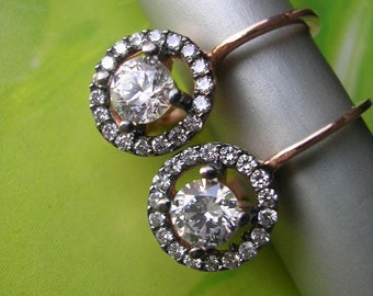 FREE SHIPPING DIMITRIANA  Earring  rose gold antique mid century inspired sterling