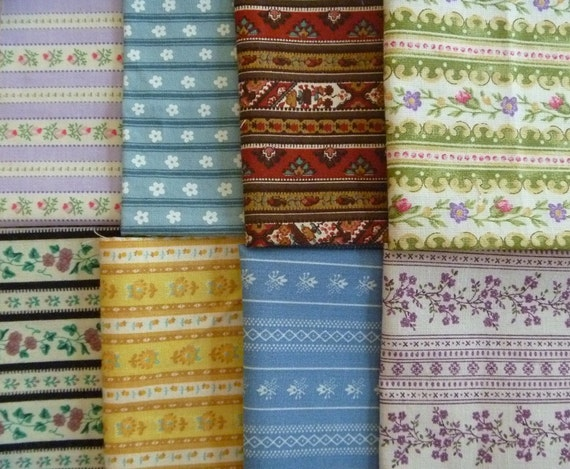 8 Assorted Vintage and Newer Striped Calico Cotton Fabric Scraps..Fat Sixteenths