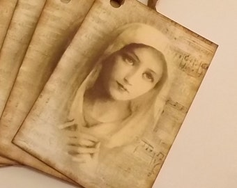 8 Blessed Virgin Mary Vintage Holy Card Inspired Christmas Gift Tags