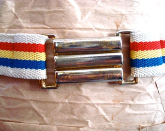 Vintage Stripped Belt with Gold Hardware * On Sale!