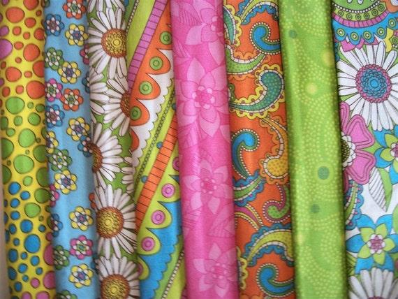 Colorful Fat Quarter Fabric 2 yards 8 Patterned Fabrics 18 x 21 Each Piece Bright Colors Bundle