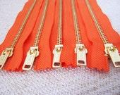 8inch - NectarOrange Metal Zipper - Gold Teeth - 5pcs