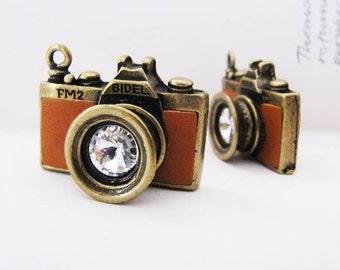 1pc Antique Bronze Vintage Golden-Yellow Camera Charm/Pendant