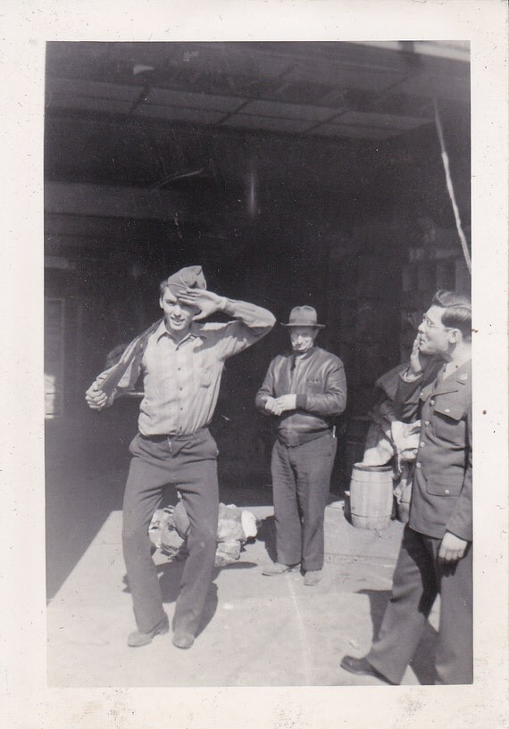 Soldier With Pal Saluting Vintage Photograph (A)