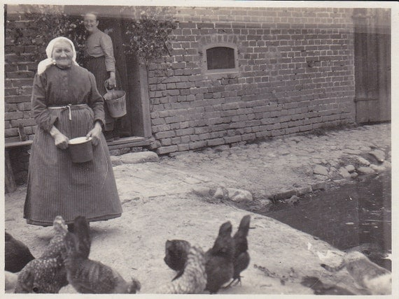 Old Lady and Chickens Vintage Photograph (G)