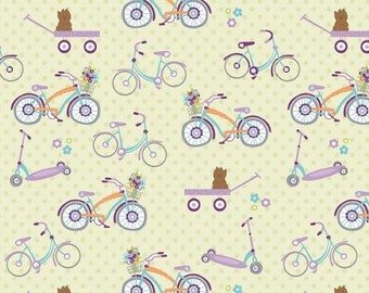 Dress Up Days Green Bikes by Doohikey Designs for Riley Blake, 1/2 yard