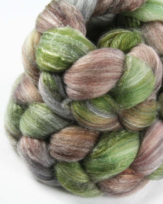 MW3 Inspired WOODLAND Merino/Bamboo/Nylon Wool Roving - 2.7 oz