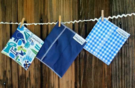 3 bags - Reusable Ecofriendly Sandwich Bag  and 2 Snack Bags - Preppy Zoo