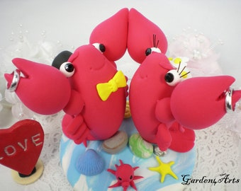 Custom Wedding Cake Topper-- Love Lobster Couple with Sweet Rings and Clay Ocean Base