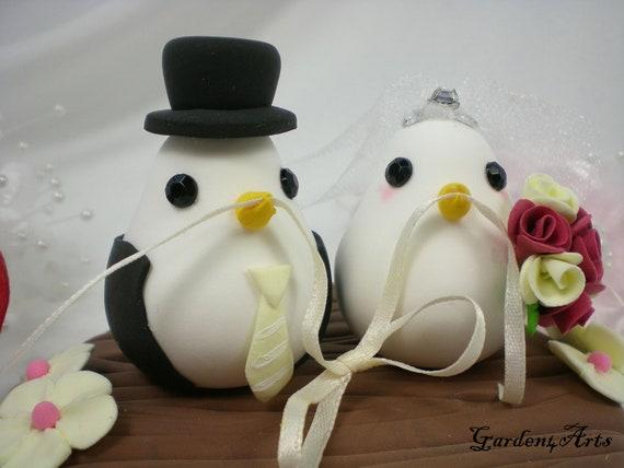 Custom Wedding Cake Topper--Love Bird Couple with Clay Log Base--NEW