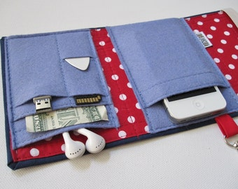 Nerd Herder gadget wallet in Hey Sailor for iPhone, Android, iPod,  camera, passport,  SD cards, USB,  guitar picks, credit cards