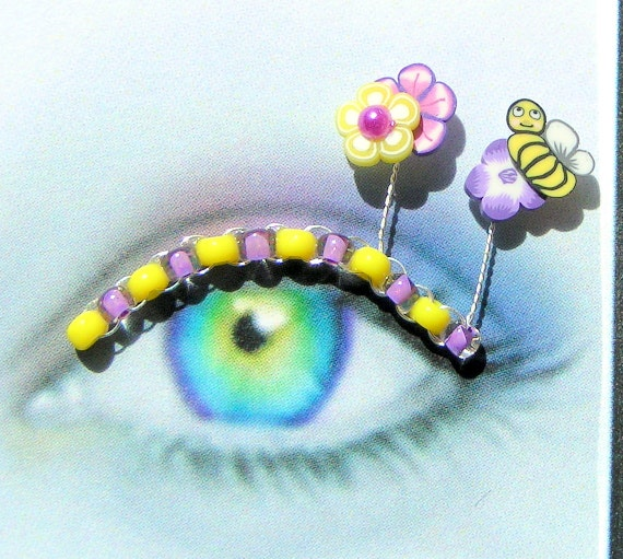 Bumble Bee Eyelash Jewelry - false eyelashes with purple flowers and bright yellow bees