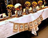 Custom Burlap Name Banner with LAST NAME