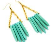 Howlite spear earrings/tribal earrings/Blue turqoise stone tone earrings/bib earrings/statement earrings