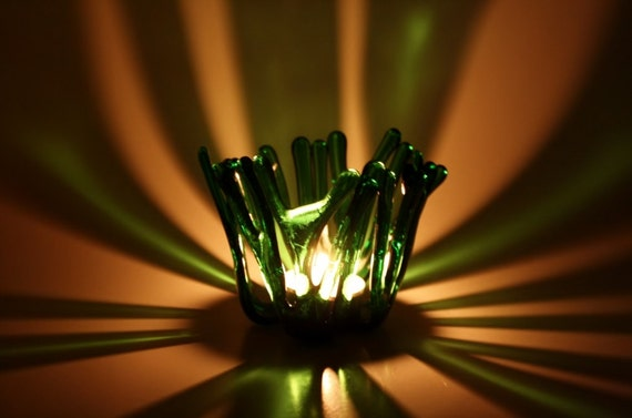 Glass Candle Holder Green Fused Glass