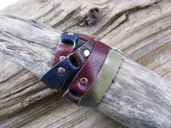Multi Color Leather Wrap Cuff