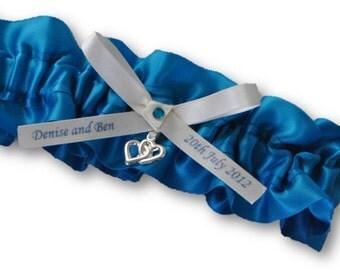 Wedding Garter , beautiful Blue Satin personalized garter, teal and ivory, teal garter, personalized garter, heart garter