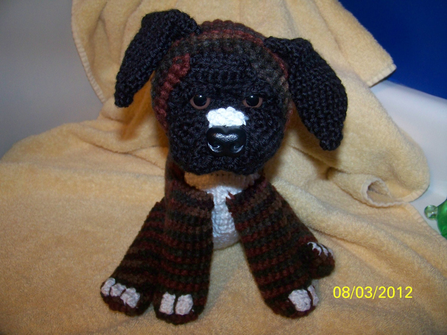 Knitting Patterns For Boxer Dogs : Crochet Boxer puppy dog brindle boxer ANY colors you want ANY