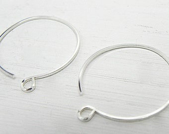 Sterling Silver Round Ear Wires Handmade Jewelry Supply