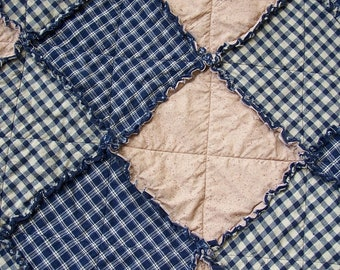Blue Homespun Rag Quilt in Lap Size, Navy Blue Country Primitive, Rustic Blanket, Farmhouse Decor, Primtive Tablecloth,  Handmade in NJ