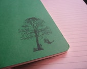 Stamped A5 ruled acid free notebooks - green covers