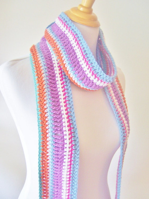 Crochet Patterns Multicolor Yarn : Womens Crochet Scarf Multicolor Cotton Yarn