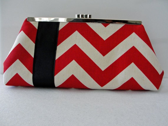 Frame Clutch, Chevron Red and Cream